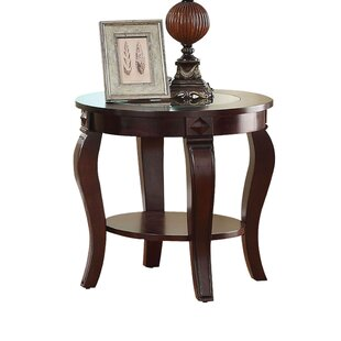 Torrez Gl Insert Top Round Wooden End Table