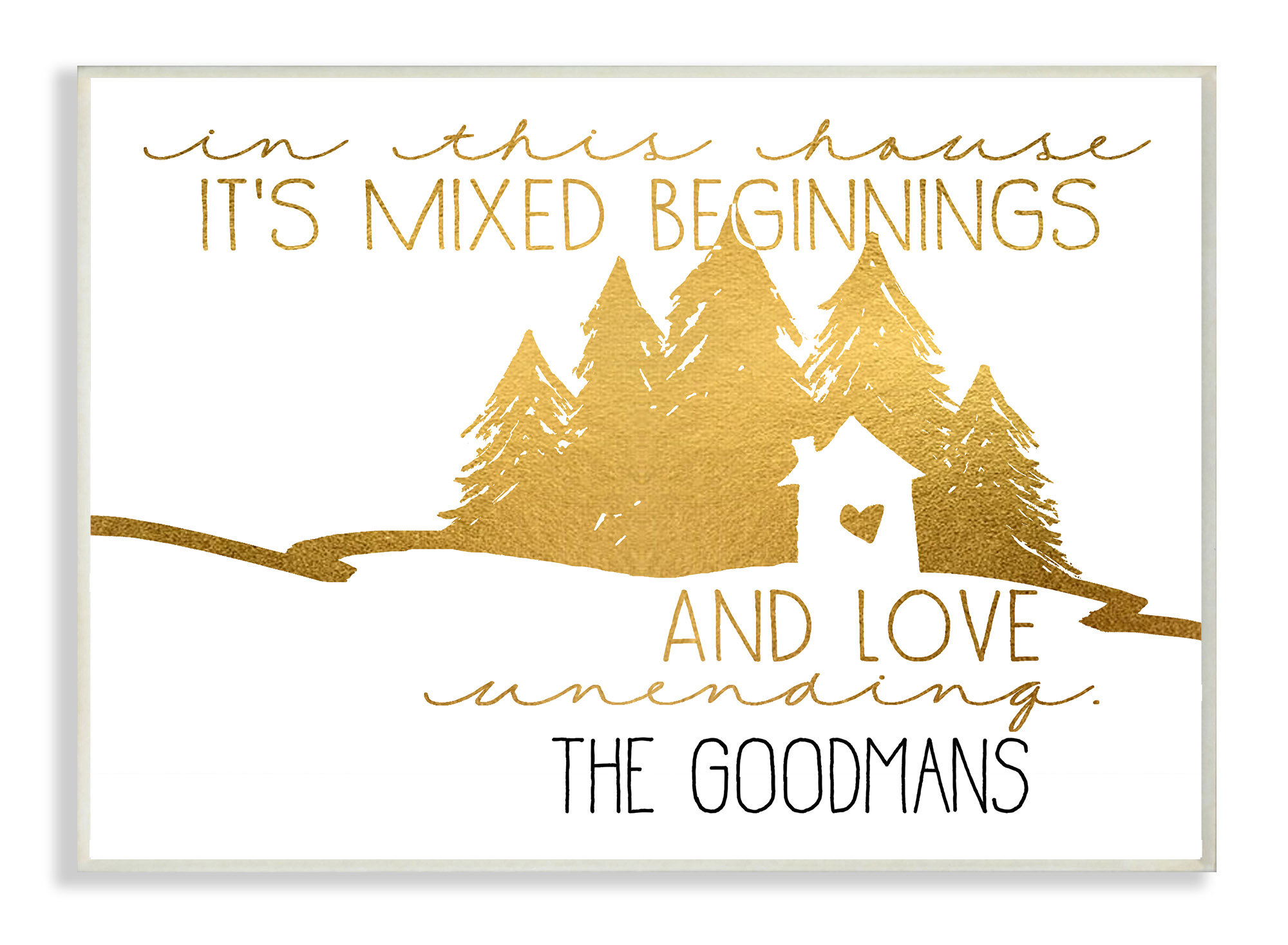 Stupell Industries Personalized Gold House Mixed Beginnings and Love ...