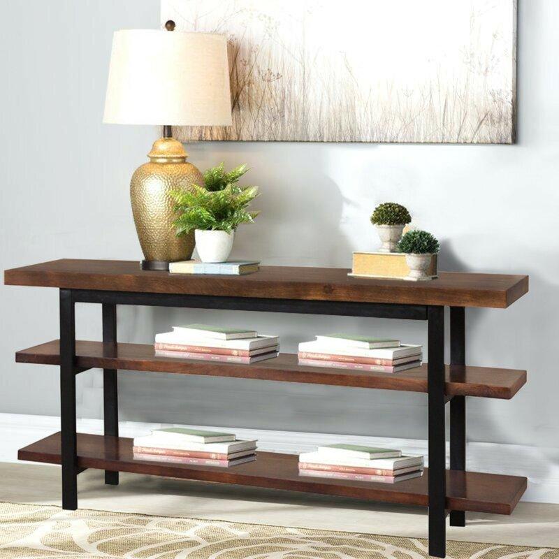 Charmant Gerardo Mango Wood And Iron Console Table
