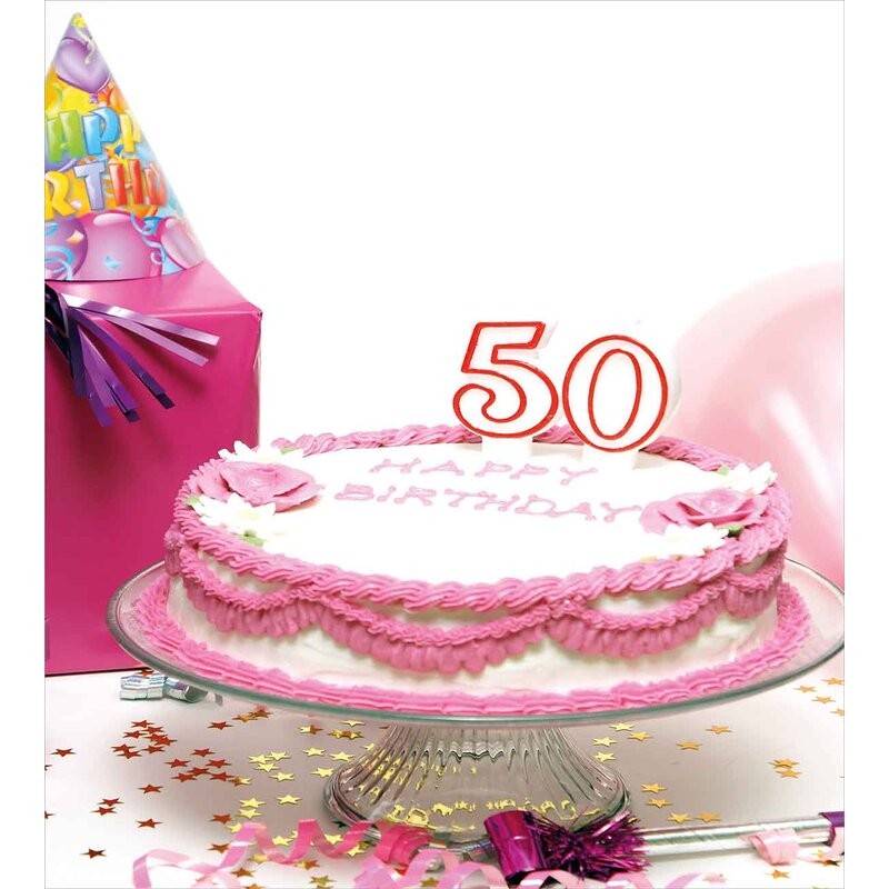 50th Birthday Decorations Delicious Cake Stars Party Hat Presents Special Day Duvet Cover Set