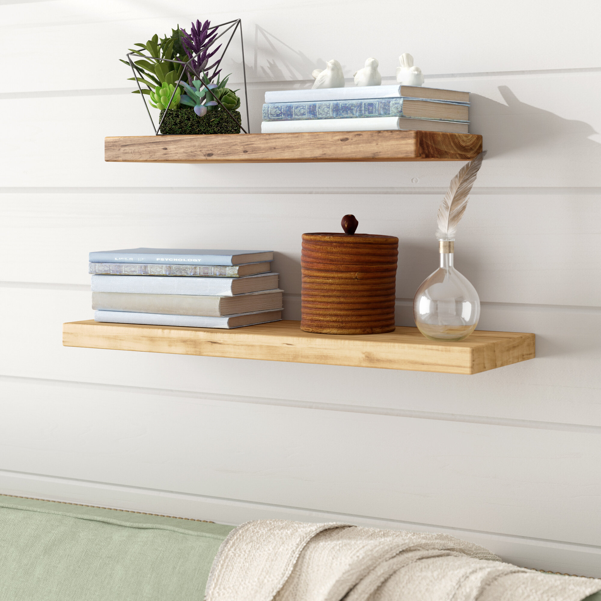Gracie Oaks Oglesby Cedar True 2 Piece Floating Shelf Set