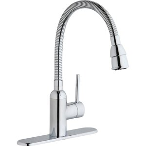 Pursuit Single Handle Deck Mount Laundry Faucet with Flexible Spout