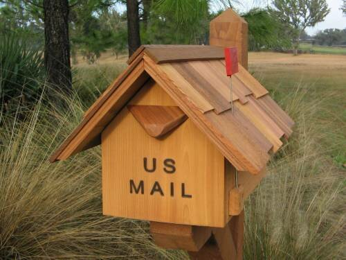 Large Spring Flag Post Mounted Mailbox