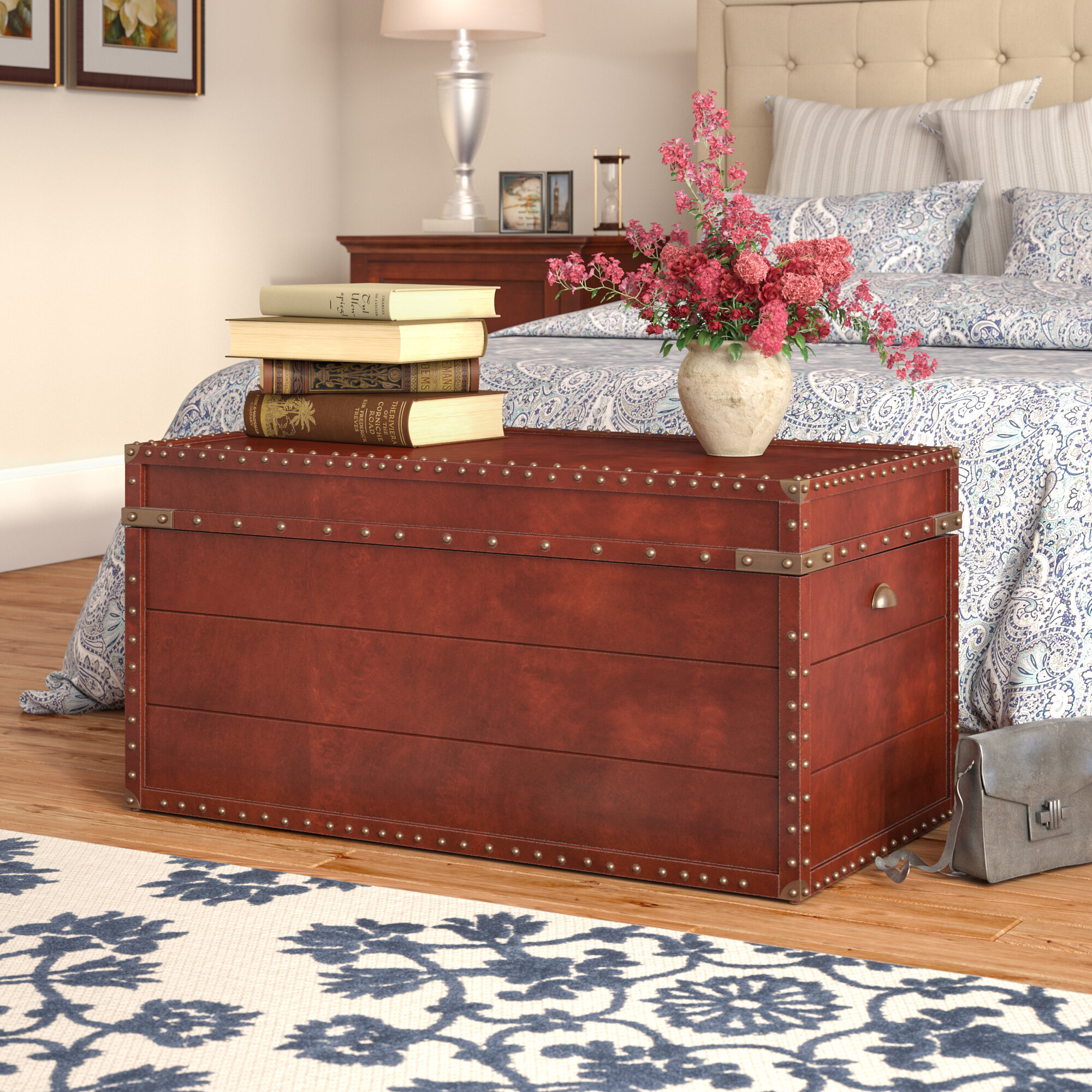 sold coffee shop table trunk chest blanket antique pine box