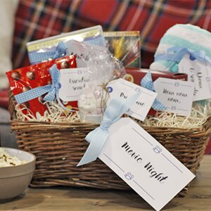 Diy hampers 10 free sets of printable gift tags wayfair a closeup of a diy gift hamper filled with homemade gifts and free printable gift tags negle Gallery