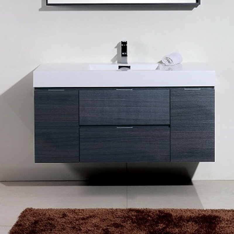 "wade logan tenafly 48"" single wall mount modern bathroom vanity"