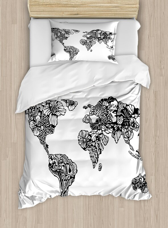 Ambesonne modern artistic sketch style world map with floral charm modern artistic sketch style world map with floral charm purity on earth themed print duvet set gumiabroncs Gallery