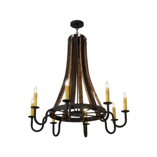 Wooden wine barrel stave chandeliers wayfair greenbriar oak barrel stave madera 8 light chandelier aloadofball