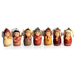Alberto Aparicio Canchari Christmas Holiday Ceramic Angel Ornament (Set of 7)