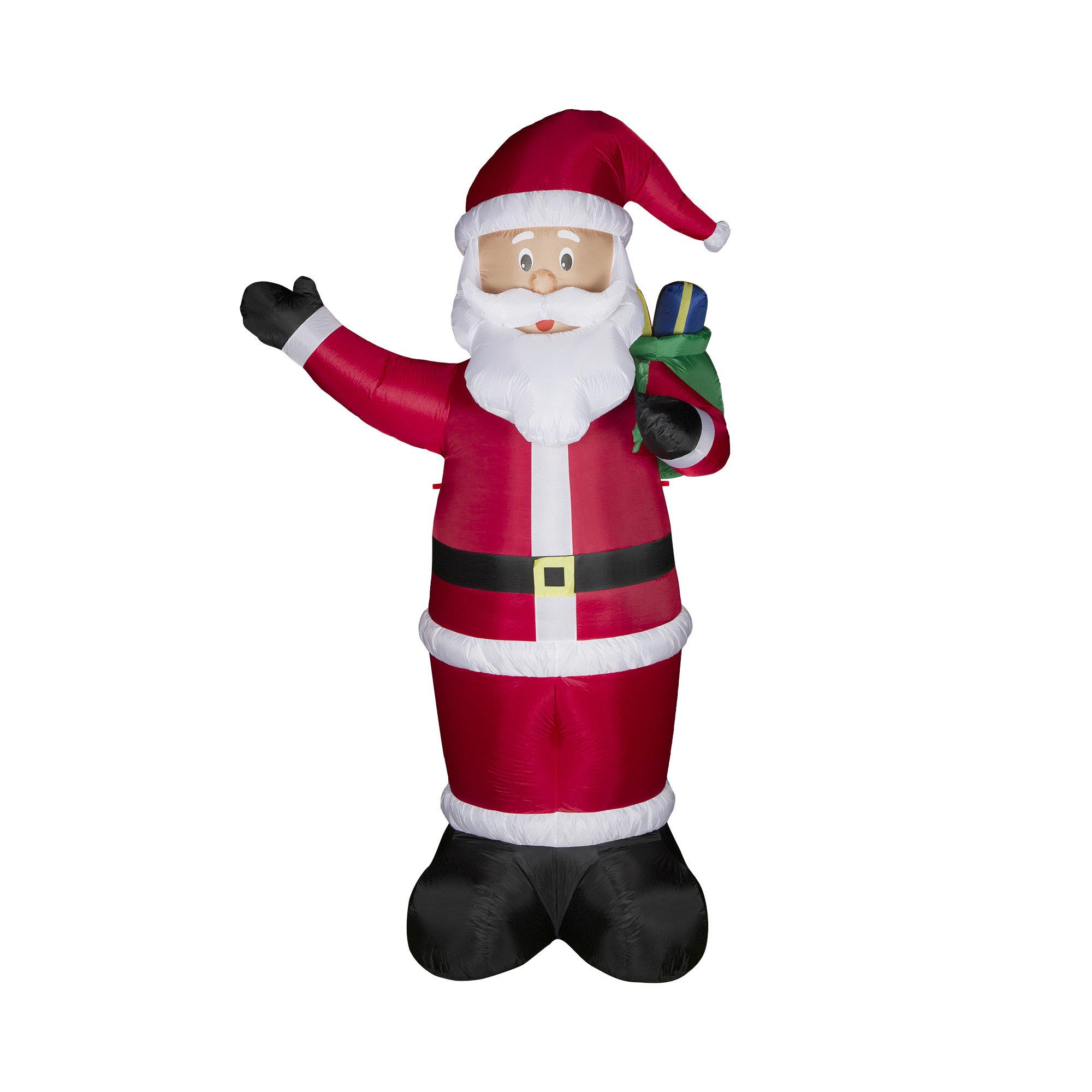 Glitzhome Lighted Santa Decor Inflatable | Wayfair