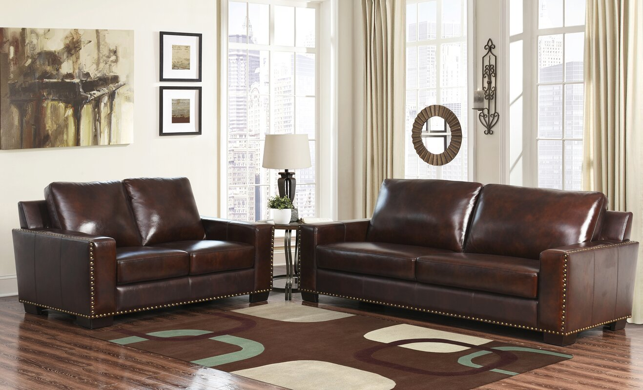 William 2 Piece Leather Living Room Set Reviews Birch Lane
