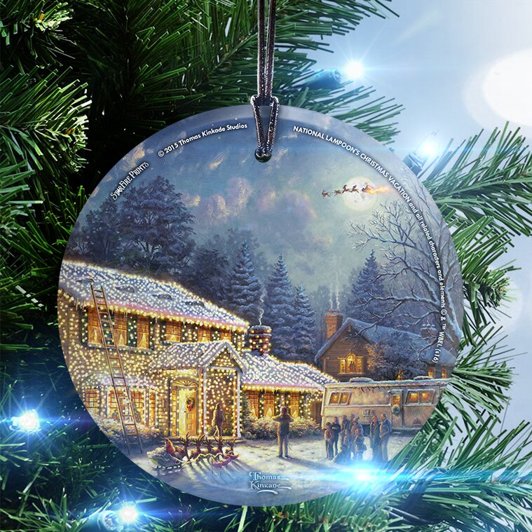 thomas kinkade national lampoons christmas vacation hanging shaped ornament - National Lampoon Christmas Vacation