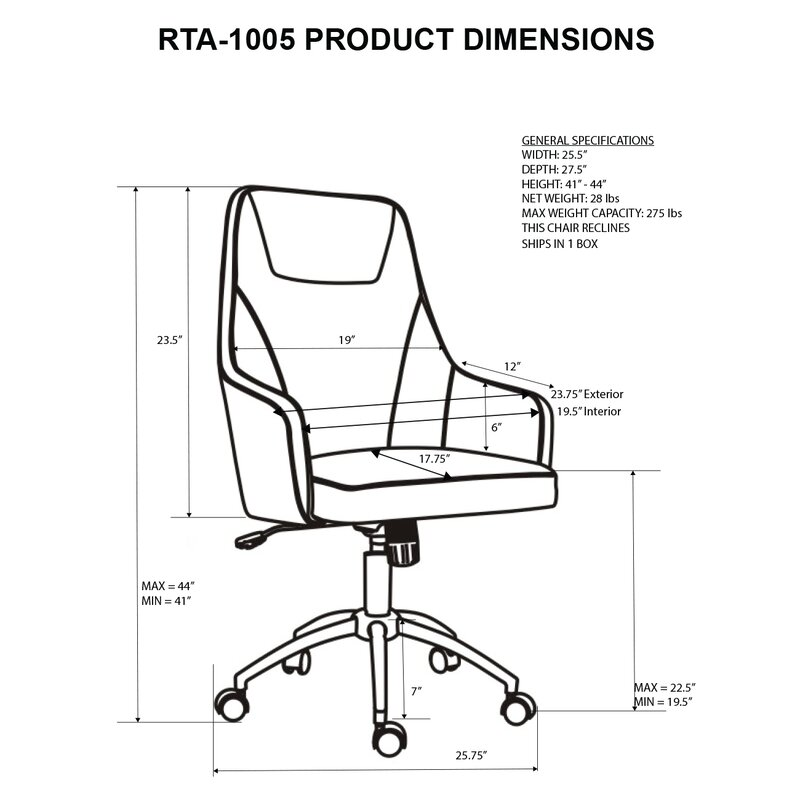 Attrayant Fowler Comfy Height Adjustable Rolling Office High Back Executive Chair