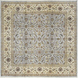 One Of A Kind Hand Knotted Wool Light Blue Cream Indoor Area Rug