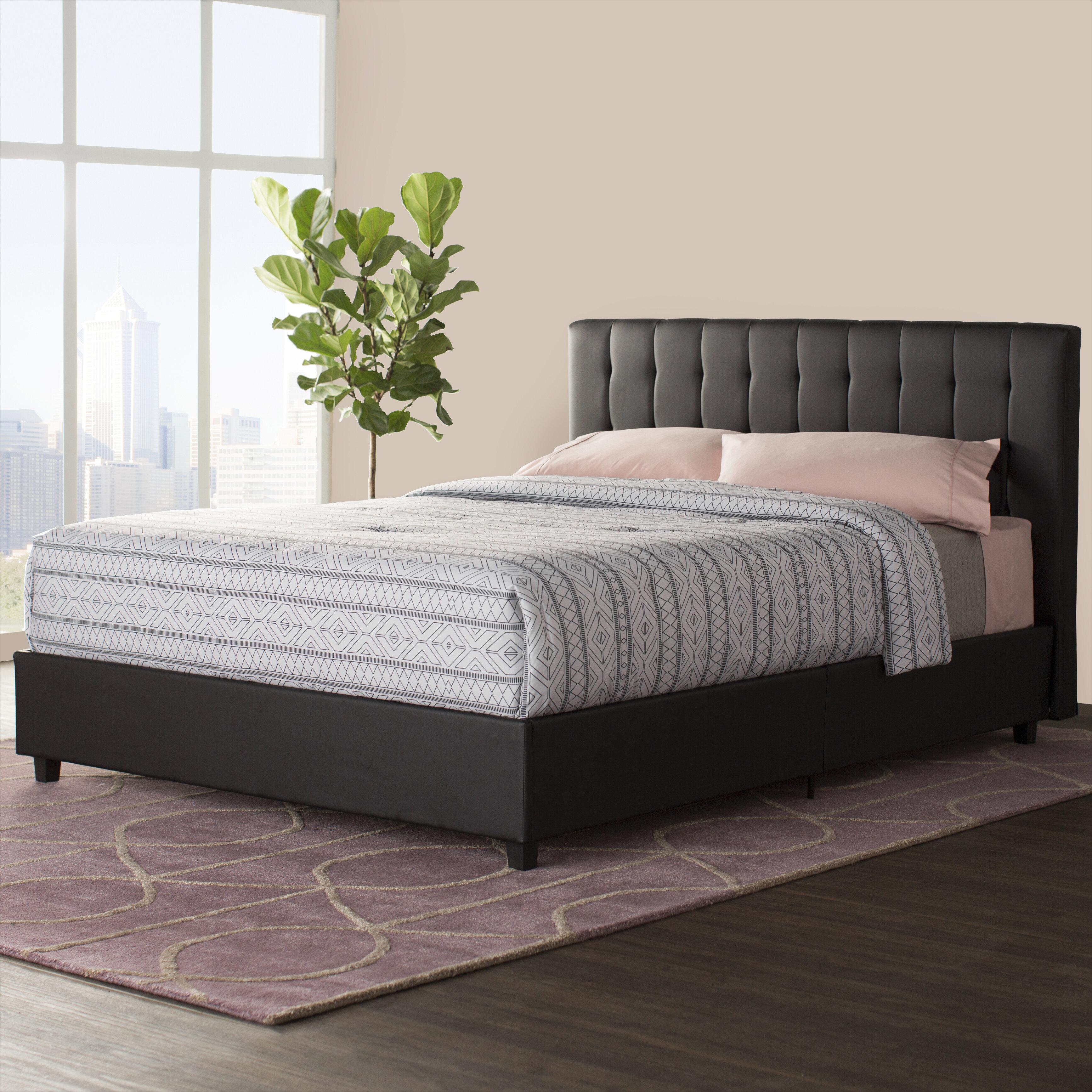 Wade Logan Littrell Upholstered Platform Bed Reviews Wayfair - Logan-leather-bed-with-adjustable-headboard
