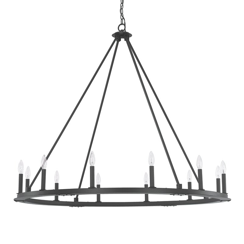 Shayla 12 Light Wagon Wheel Chandelier Amp Reviews Allmodern