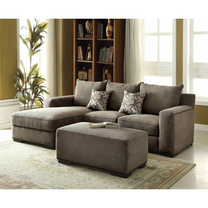 Major Q 2Pcs Grey Fabric Sectional Sofa Set Left Chaise
