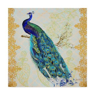 Beautiful Peacock Acrylic Painting Print On Wrapped Canvas