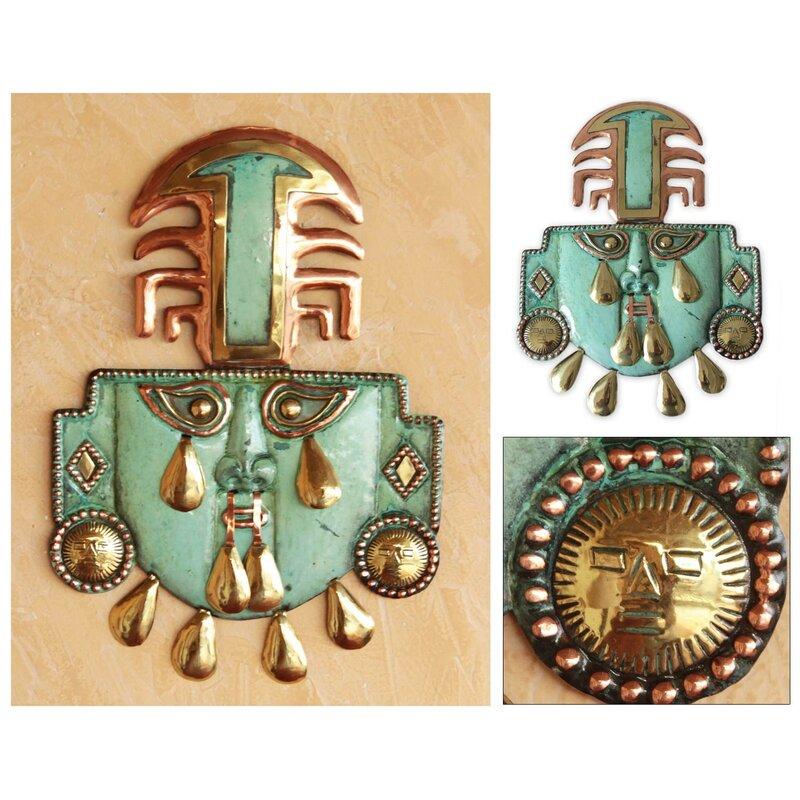 Novica Angel Franco Unique Inca Copper and Bronze Mask Wall Decor ...