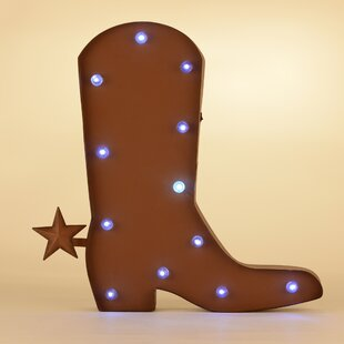 Rustic Marquee Led Lighted Western Cowboy Boot Sign Wall Décor