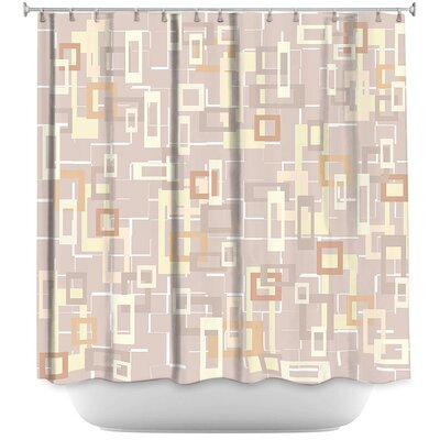 Chew Magna Mod Squares Neutral Shower Curtain