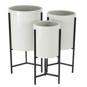 Modern 3-Piece Pot Planter Set with Stand