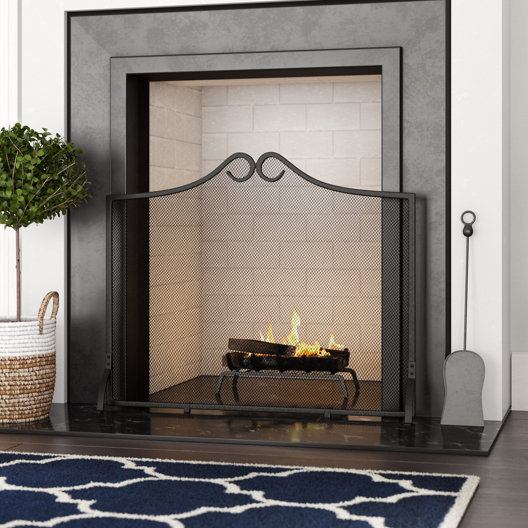 Charlton Home Marigold Single Panel Steel Fireplace Screen Reviews