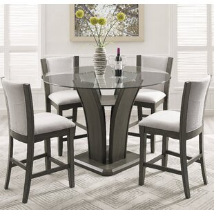 Kangas 5 Piece Round Counter Height Dining Set