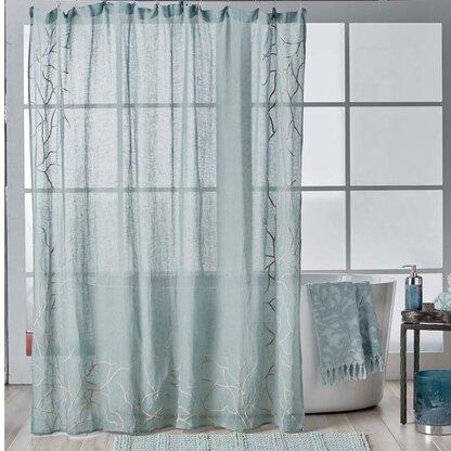 Ocean Reef Linen Shower Curtain