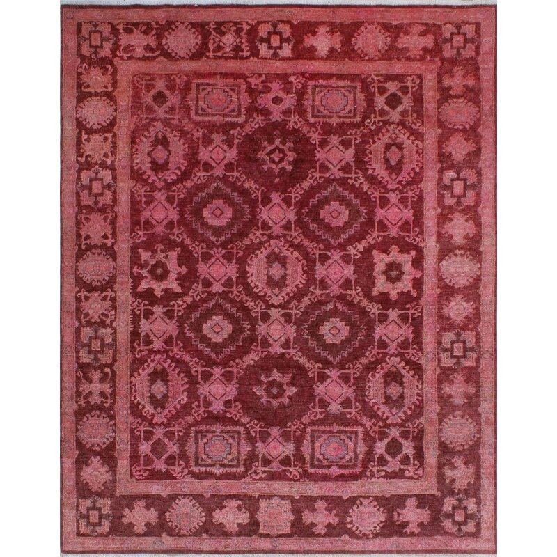 Isabelline One Of A Kind Aleta Hand Knotted Wool Magenta Area Rug