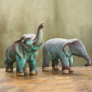 Duangkamol 2 Piece Artisan Crafted Ceramic Elephants Figurine Set