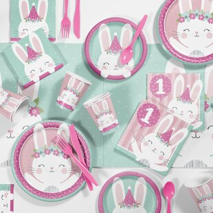 Mckee Bunny Party 1st Birthday Paper Plastic Supplies Kit