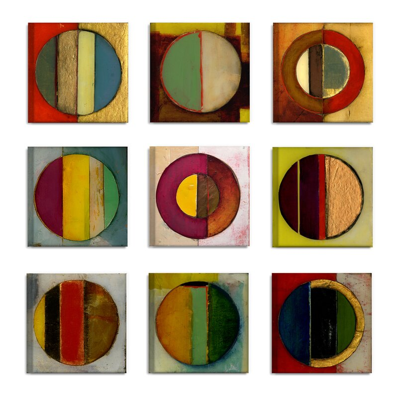 Textured Circles Green And Red 9 Piece Canvas Wall Art