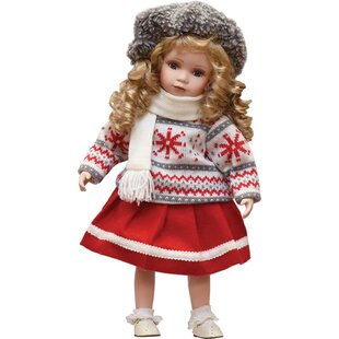 porcelain erin with scarf standing collectible christmas doll - Animated Christmas Dolls