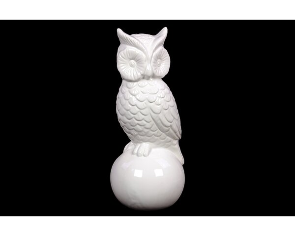 Woodland Imports Wide Eyes Ceramic Owl Figurine On Ball Stand Wayfair