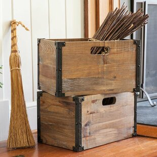Deep Creek Rustic Storage Solid Wood Crate Set Of 2
