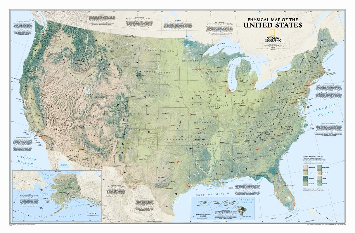 National Geographic Maps United States Physical Wall Map Reviews - Physical map of alaska
