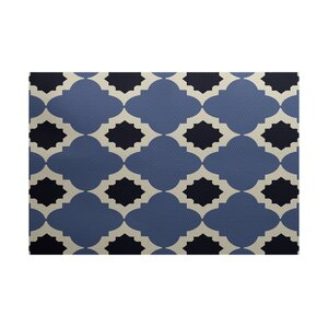 McGuinness Geometric Print Navy Blue Indoor/Outdoor Area Rug