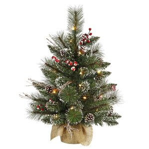 2 snow green tipped pine and berry artificial christmas tree with 35 clear lights with - Artificial Christmas Trees With Lights
