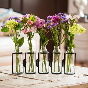 Hinged 5 Piece Bottle Table Vase Set