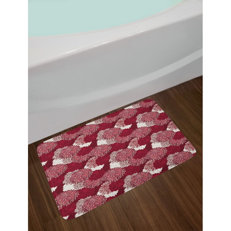 East Urban Home Red And White Bath Rug Wayfair