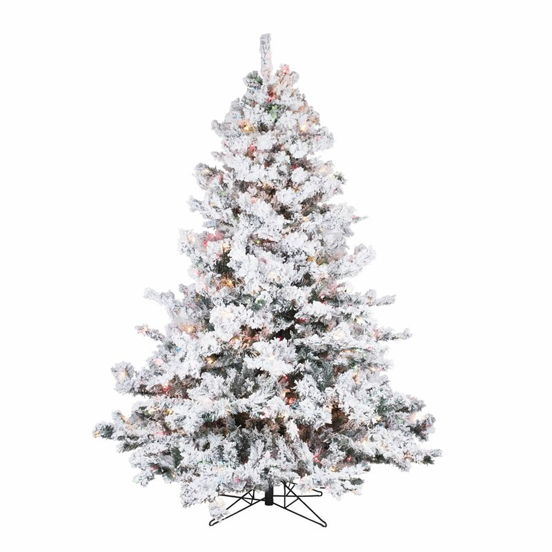 The Holiday Aisle Flocked Alaskan 6.5' White /Green Spruce ...