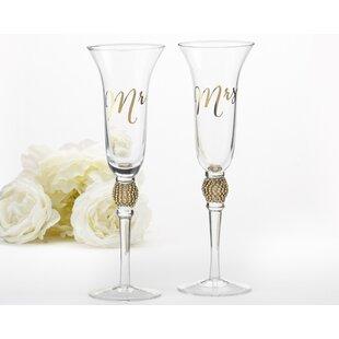 Wedding champagne glasses youll love wayfair mr mrs 6 oz champagne flute set of 2 solutioingenieria Choice Image