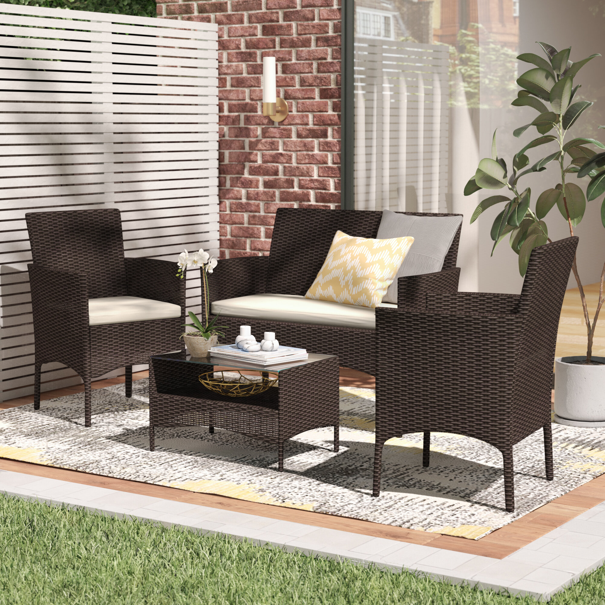 Delicieux Woodland Park 4 Piece Rattan Sofa Seating Group With Cushions