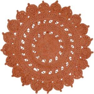 Sartain Hand-Woven Orange Area Rug