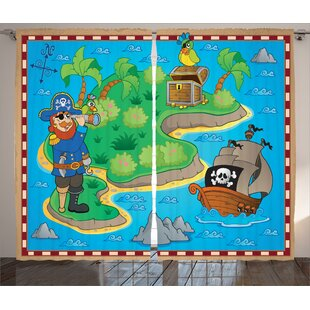 Nick Island Map With Pirate Ship Graphic Print U0026 Text Semi Sheer Rod Pocket  Curtain Panels (Set Of 2)