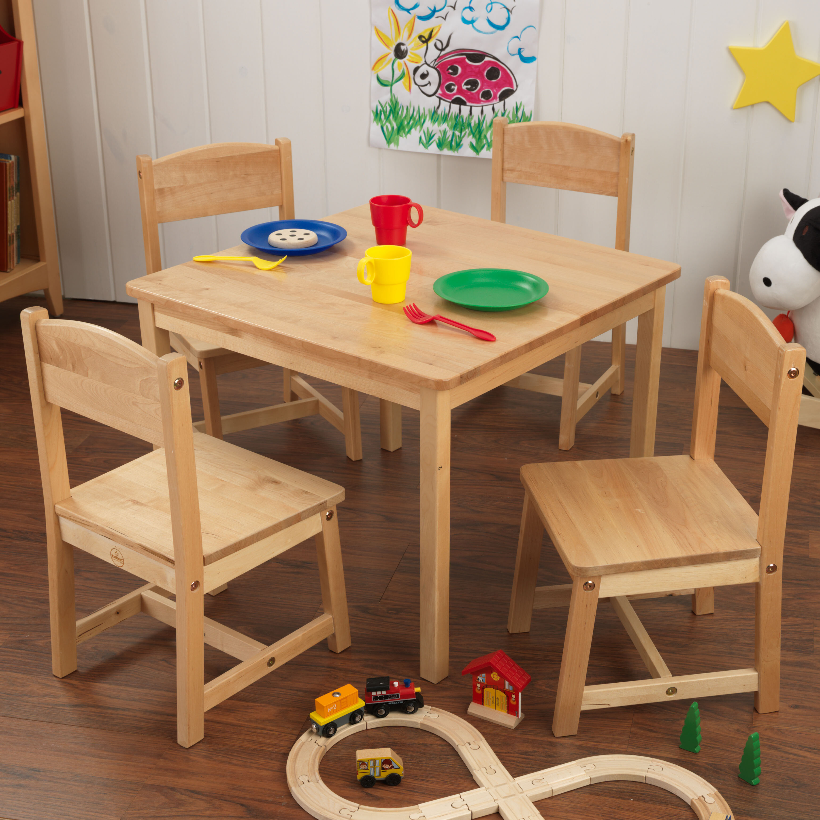Astounding Kidkraft Farmhouse Kids 5 Piece Writing Table And Chair Set Andrewgaddart Wooden Chair Designs For Living Room Andrewgaddartcom