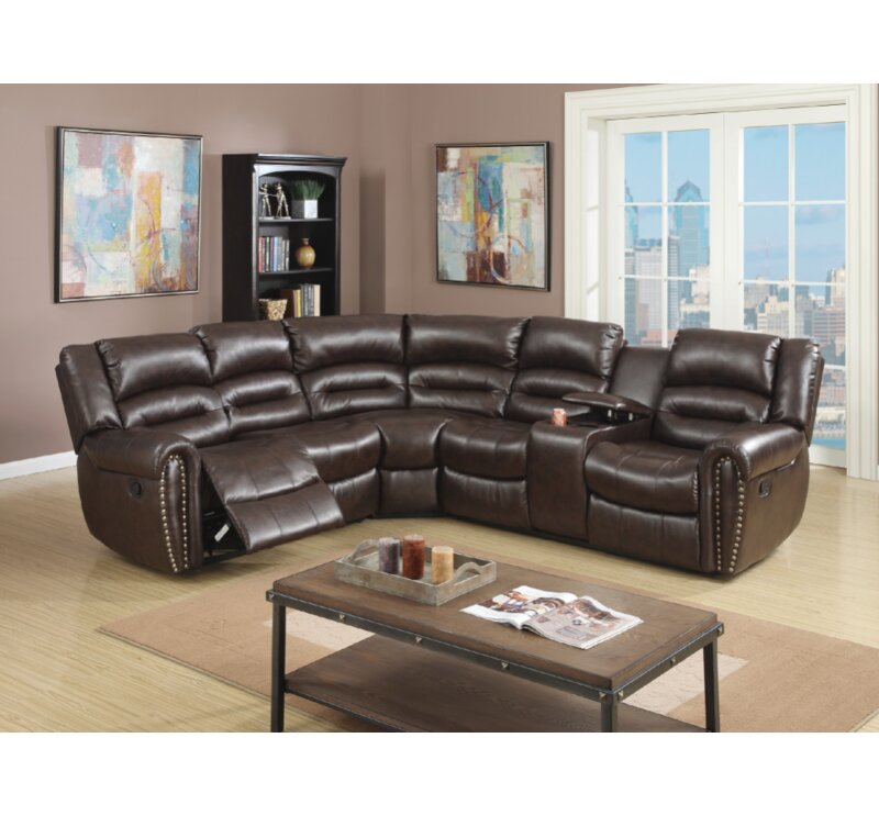 Stayton 3 Piece Leather Reclining Sectional Set