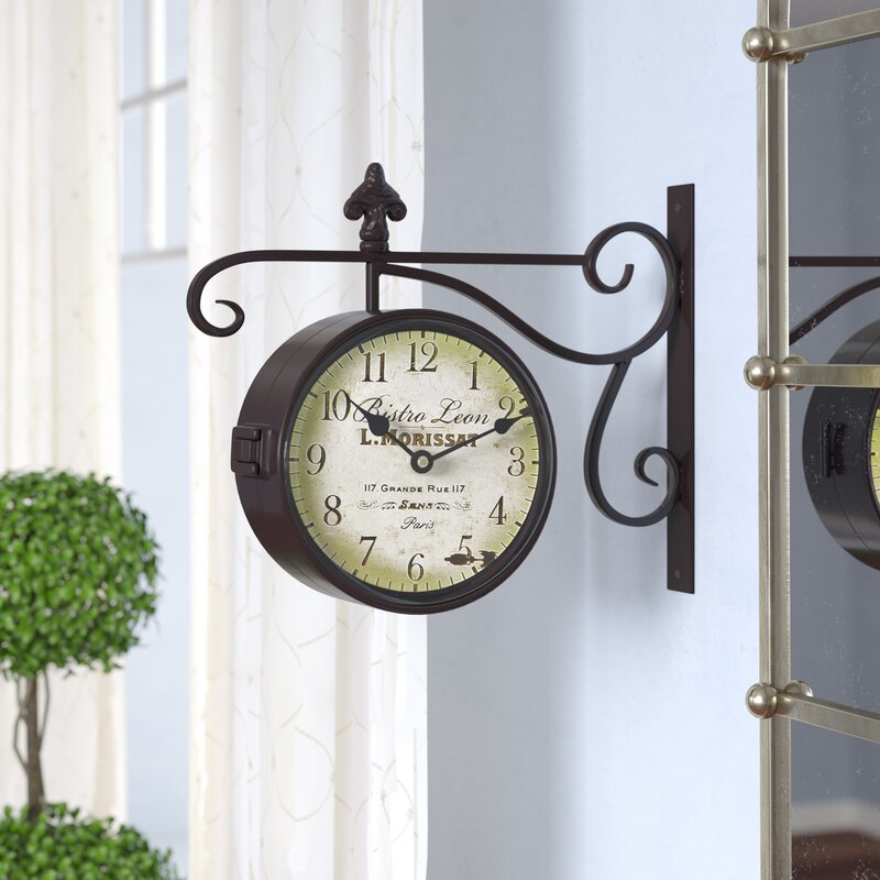 Ja Round Double Sided Wall Hanging Clock