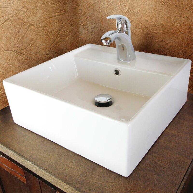 Perfect Sauberzen Vitreous China Rectangular Vessel Bathroom Sink With Overflow